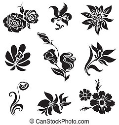 desig, セット, 黒, 花, leafs