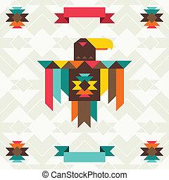 design., águia, navajo, fundo, étnico