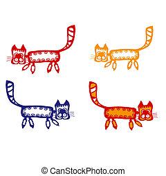 design., éléments, dessin animé, cats., ton