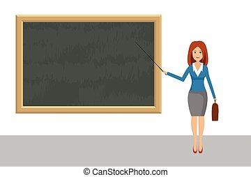 design., イラスト, 教師, 平ら, ポインター, 黒板, ベクトル, 女性