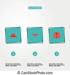 design., セット, ロゴ, アイコン, パナマ, underpants, あなたの, 網, スタイル, シンボル, モビール, 他, ジャケット, app, 衣服, 平ら