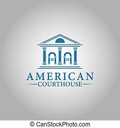 design., ベクトル, アメリカ人, 法廷の家, 最高, ロゴ