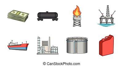 design., ベクトル, オイル, 網, セット, 生産設備, 株, コレクション, シンボル, アイコン, ...