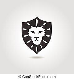 design., ベクトル, ライオン, tシャツ, 顔, ロゴ, テンプレート, 紋章, element., ビジネス...