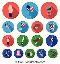 design., ベクトル, 休日, アイコン, 平ら, 伝統, セット, 網, 愛国者, 株, 日, コレクション, シンボル, アメリカ人, illustration.