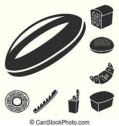 design., ベクトル, 黒, パン屋, プロダクト, bread, セット, 網, 株, タイプ, コレクション, シンボル, アイコン, illustration.