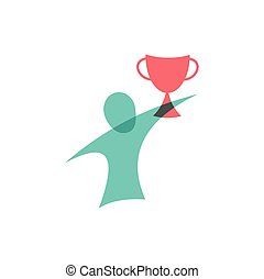 design., ロゴ, icon., 勝者, カップ