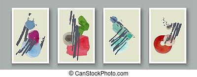 design., 抽象的, いたずら書き, 手, ブラシ, しみ, set., 幾何学的, 芸術的, 手ざわり, ベクトル, 創造的, 壁, 絵, 旗, 形, オブジェクト, アートワーク, ミニマリスト, 葉書, ポスター, ペイントされた, インク, 装飾, 背景