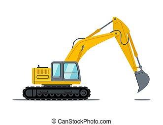 design., 黑色, 卡通漫画, 设备, 重的职责, 车辆, 黄色, 建筑工地, excavator