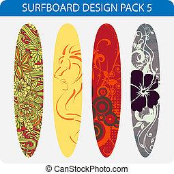 design, 5, surfbrett, satz
