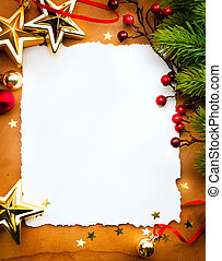 Design a Christmas greeting card with white paper on a red background