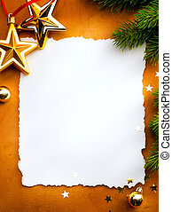 Design a Christmas greeting card with white paper on a red...