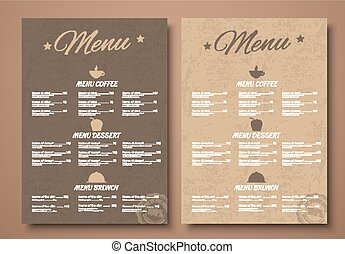 Design a menu for the cafe, shops or caffeine in a retro style