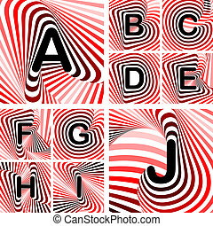 Design ABC letters from A to J. Strip twisting lines textured font. Vector-art illustration. No gradient