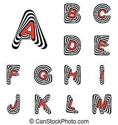 Design ABC letters from A to M