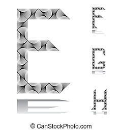 Design ABC letters from E to H