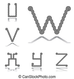Design ABC letters from U to Z
