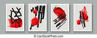 design., abstract, doodle, hand, borstel, vlek, set., geometrisch, artistiek, textuur, vector, creatief, muur, schilderij, spandoek, vorm, voorwerp, kunstwerk, minimalist, postkaart, poster, geverfde, inkt, versiering, achtergrond