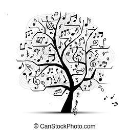 design, abstrakt, träd, din, musikalisk