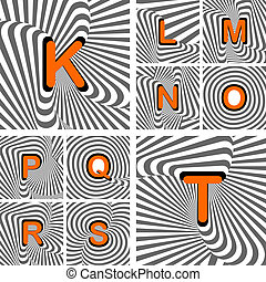 Design alphabet letters from K to T. Striped waving lines textured font. Vector-art illustration