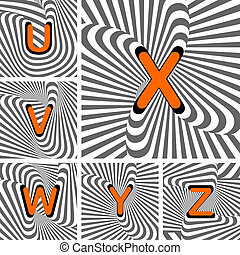Design alphabet letters from U to Z. Striped waving lines textured font. Vector-art illustration
