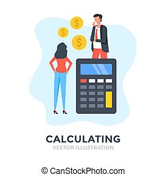 design., analytics., αριθμομηχανή , επινοώ. , concepts., εικόνα , διαμέρισμα , άνθρωποι , υπολογισμός , προϋπολογισμός , λογιστική , επιχείρηση , μικροβιοφορέας , δολάριο , οικονομικός , calculating., οικονομία