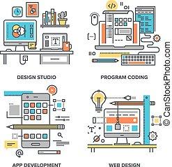 Design and Development - Vector set of conceptual flat line ...