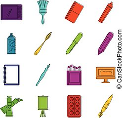 Design and drawing tools icons doodle set - Design and...