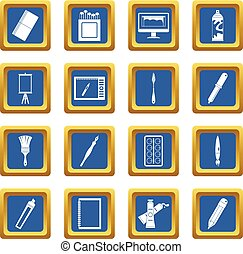 Design and drawing tools icons set blue - Design and drawing...