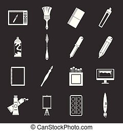 Design and drawing tools icons set grey vector - Design and...