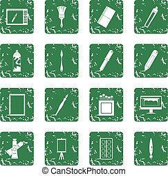 Design and drawing tools icons set grunge - Design and...