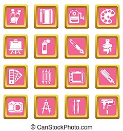 Design and drawing tools icons set pink square