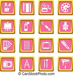 Design and drawing tools icons set pink square vector