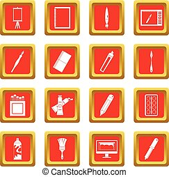 Design and drawing tools icons set red - Design and drawing...