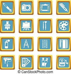 Design and drawing tools icons set sapphirine square vector...