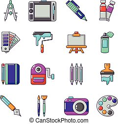 Design and drawing tools icons set, cartoon style - Design...