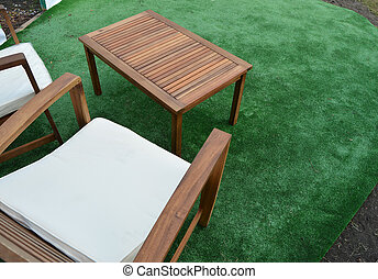 design and garden furniture, table, chairs, top view