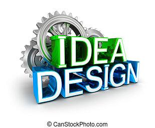 Design and idea text, 3d Concept