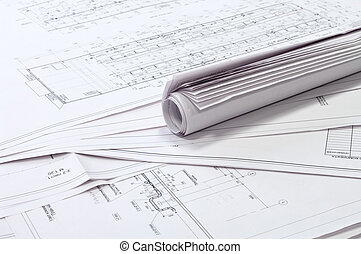 Design and project drawings. - Black and white dimensional...