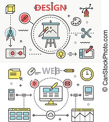 Design and Web development flat thin line banners. Vector concept elements, icons