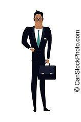 design., apartamento, vetorial, ilustração, homem negócios