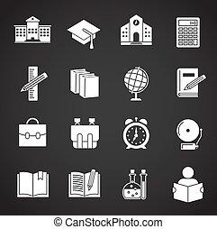 design., app, ウェブサイト, グラフィック, illustration., セット, モビール, 関係した, 網, ∥あるいは∥, アイコン, 学校, シンボル, 単純である, 背景, ボタン, インターネット, 概念