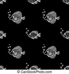 design, aquariumfisch, schwarzmarkt, hintergrund., gewebe, verpackung, seaquarium, muster, bubbles., scrapbooking, shop., poppig, gebrauch, seamless, geschäfte, meer