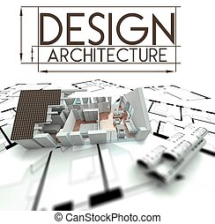 Design architecture, project of house on blueprints
