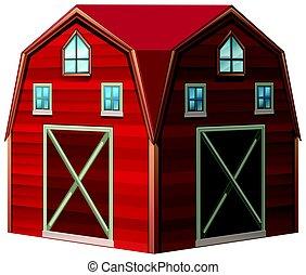 design, architektur, rote scheune