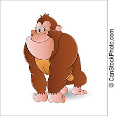 Gorilla - Design Art of Cute Cartoon Gorilla Vector...