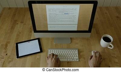Design at Desk with Keyboard, Mouse, Tablet, Sketch