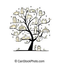 design, ?at, träd, din, familj