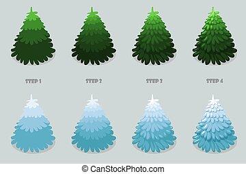 design., bäume, 4, karikatur, freigestellt, weihnachtsbaum, zeichnung, treten, vektor