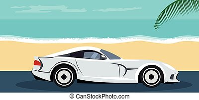 Design background of car parked on the beach